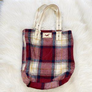 HOLLISTER Plaid Shoulder Tote Bag